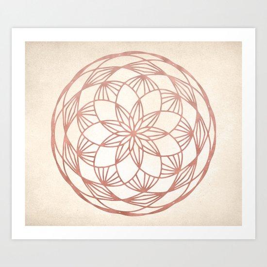 Mandala Bud Rose Gold on Cream Art Print