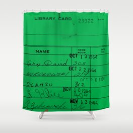 LIbrary Card 23322 Green Shower Curtain