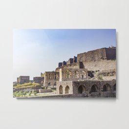 Mughal Arches Lining the Walkway up Golconda Fort in Hyderabad, India Metal Print