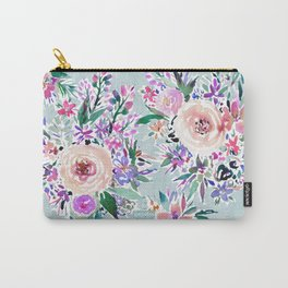 WILD DANCE Ice Blue Floral Carry-All Pouch
