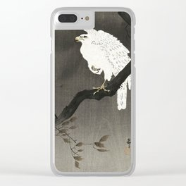 Koson Ohara - White Eagle on a Branch - Japanese Vintage Ukiyo-e Woodblock Painting Clear iPhone Case