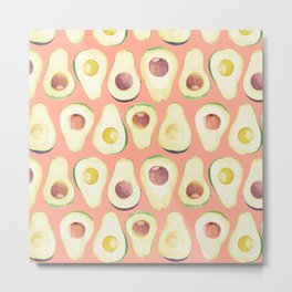 Watercolor avocado in pink Metal Print