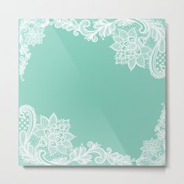White Flower Lace Henna Design Teal Blue Mint Aqua Vintage Lace White Lace Design Metal Print