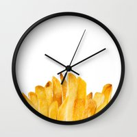 french fries Wall Clocks featuring french fries by jeff gravel