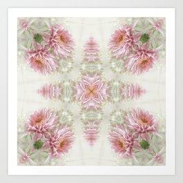 Pink Chrysanthemums Kaleidoscope Art 1 Art Print
