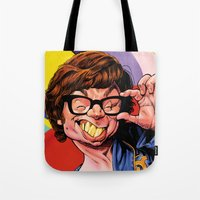 snl Tote Bags featuring Austin Power, Mike Myers, color by Patrick Dea