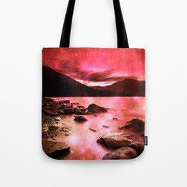 Magical Mountain Lake Red Tote Bag