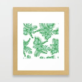 Palm Leaves and Hibiscus Tropical Green Framed Art Print
