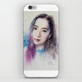 Girl with a Cross Earring iPhone Skin