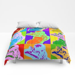 Poster with girl in popart style Comforters