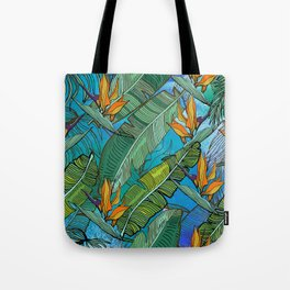 Tropical pattern. Banana palm tree leaves. Watercolor textured. Tote Bag