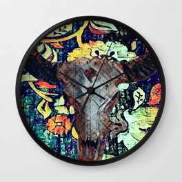 Cow Skull Floral Wall Clock
