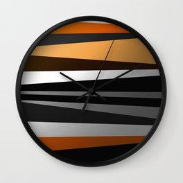 Metallic II - Abstract, geometric, metallic effect stripes, gold, silver, black Wall Clock