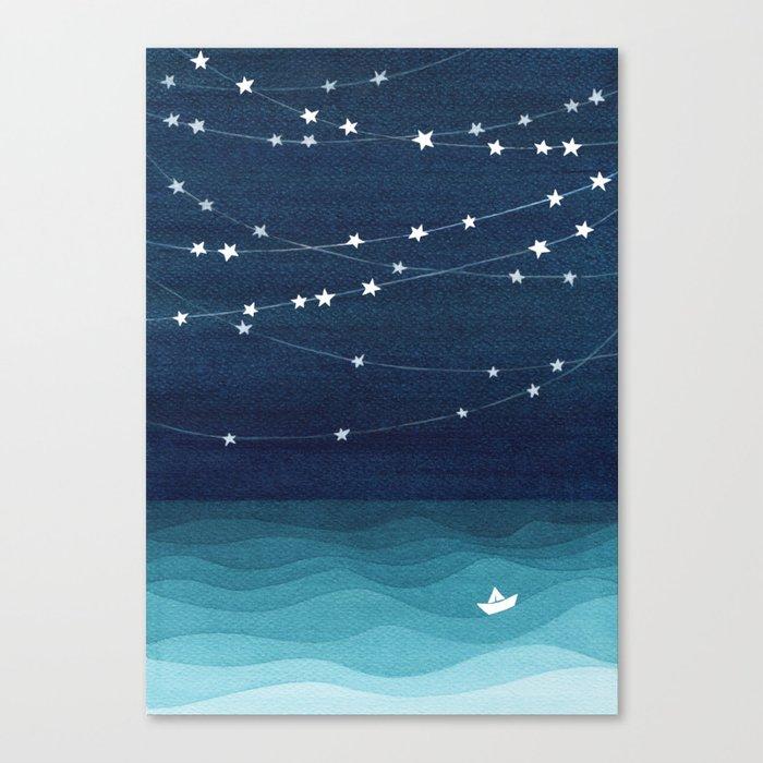 Garlands of stars, watercolor teal ocean Leinwanddruck