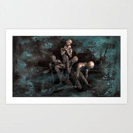Abtract Dark Emotion Of Human Art Print