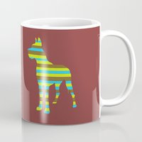 great dane Mugs featuring Great Dane Stripes by Crayle Vanest