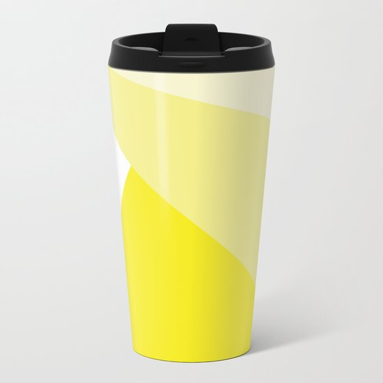 Simple Geometric Triangle Pattern- White on Yellow - Mix & Match with Simplicity of life Metal Travel Mug