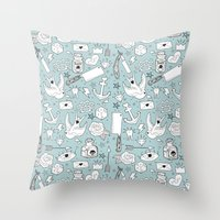 old school Throw Pillows featuring Old School by naidl