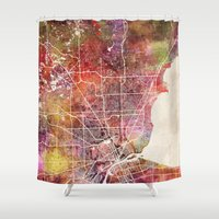detroit Shower Curtains featuring Detroit by MapMapMaps.Watercolors