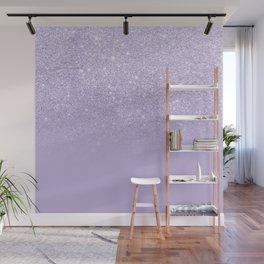 Stylish purple lavender glitter ombre color block Wall Mural