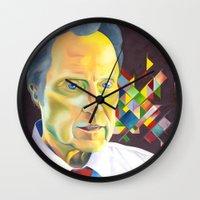 christopher walken Wall Clocks featuring Technicolor Walken by Jolene Rose Russell