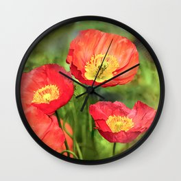 Little red poppies Wall Clock