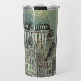 London's St Pauls and Ludgate Hill - Oil Painting, London, England Townscape by Godwin Bennett Travel Mug