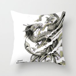 Dragon Phoenix Tattoo Art Print Throw Pillow