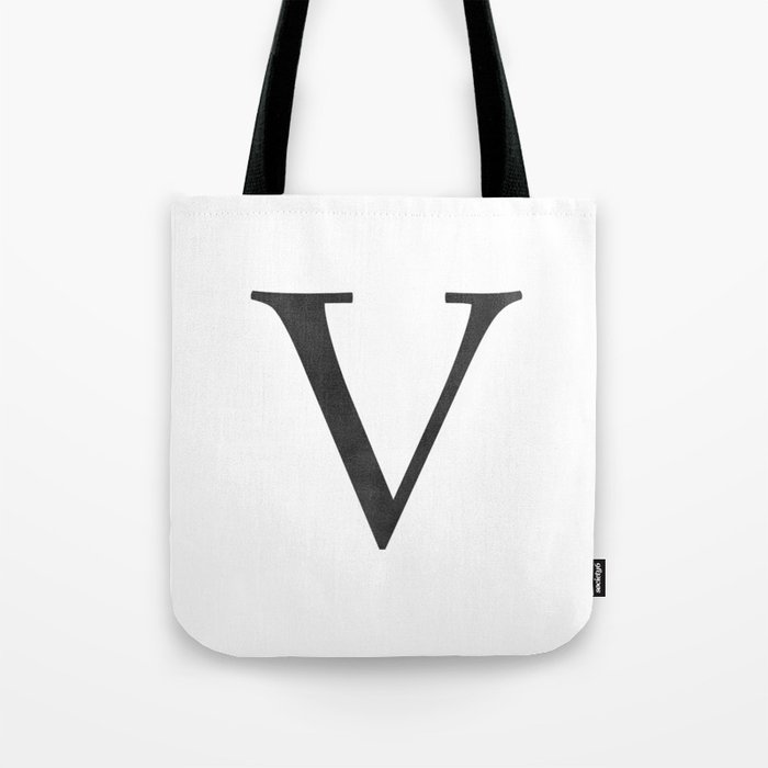 Letter V Initial Monogram Black And White Tote Bag By Followmeinstead