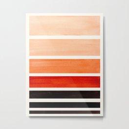 Brown Minimalist Watercolor Mid Century Staggered Stripes Rothko Color Block Geometric Art Metal Print