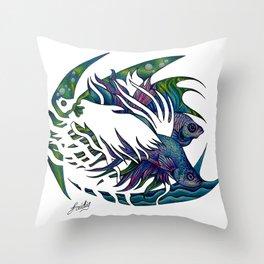 Siamese fighting fish themed artwork Throw Pillow