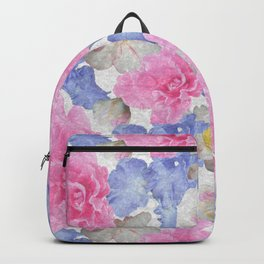 Pink Glads Blue Iris Flowers Large Backpack