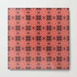 Peach Echo Floral Geometric Metal Print