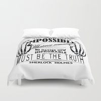 sherlock holmes Duvet Covers featuring Sherlock Holmes by Leti & fishhorse