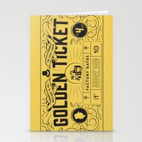 roald dahl Stationery Cards featuring THE GOLDEN TICKET by Level Seven
