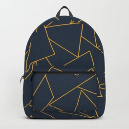 Navy blue and gold geometric pattern Backpack