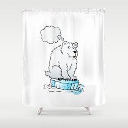 Polar bear on an ice floe Shower Curtain