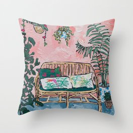 Rattan Bench in Painterly Pink Jungle Room Throw Pillow