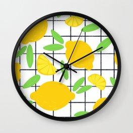 Lemon Pattern Grid Wall Clock