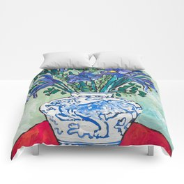 Iris Bouquet in Blue and White Asian Tiger Jar on Green and Coral Comforters