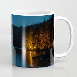 BROWN WOODEN DOCK ON BLUE LAKE DURING NIGHT TIME Coffee Mug