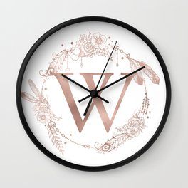 Letter W Rose Gold Pink Initial Monogram Wall Clock