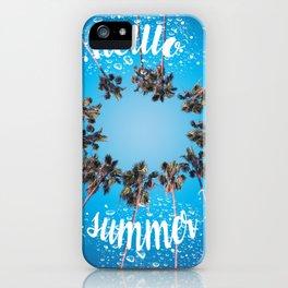 hello summer palm trees design 3 iPhone Case