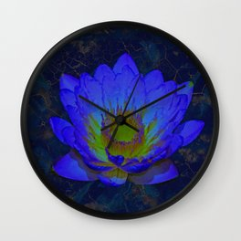 Blue Marble and Gold Watercolor Lotus Wall Clock