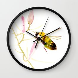Bee and Pink Flowers Wall Clock