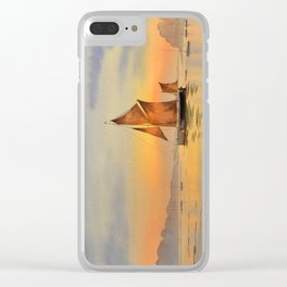 Thames Barge At Sunset Clear iPhone Case