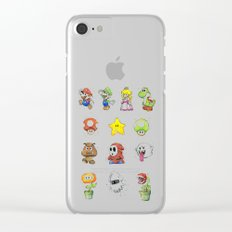 Mario Characters Watercolor Geek Gaming Videogame Clear iPhone Case
