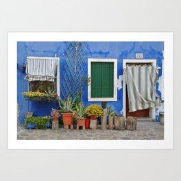 Blue Burano House Art Print