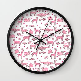 valentines animals nature sharks giraffe deer cats nursery love hearts Wall Clock