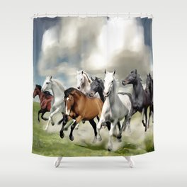 8 Horses Running Shower Curtain